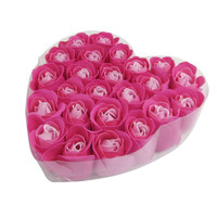 Best Sale 24 Pcs Red Fuchsia Scented Rose Flower Petal Bath Body Soap Wedding Party Gift