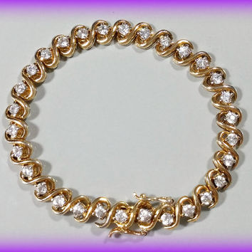 Vintage Gold Sterling Silver Tennis Bracelet Sparkling Cubic Zirconia Very Well Made Solidly Crafted Durable Finish Faux Diamond Bracelet