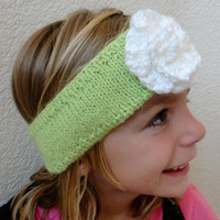 Headband Ear Muff Lime Green Flower Child Toddler