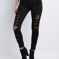 Cello Destroyed Hi-Rise Skinny Jeans | Charlotte Russe