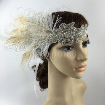 Fashion Diamante Rhinestone Feather Headband Flapper Fancy Dress Costume Party Hair band Headpiece 1920's Gatsby