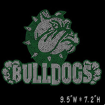 Bulldogs team name iron on hot fix heat rhinestone transfer - school mascot sports appliqué DIY