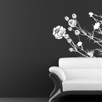Floral grass living room wall decal