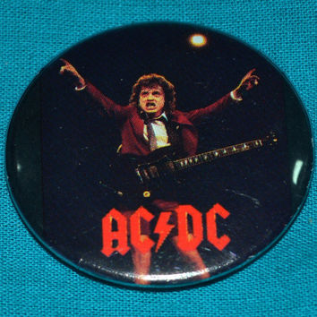 Vintage 80s AC/DC Angus Young Button Pinback Badge Pin