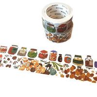 Woodland And Food Jars Washi Tape Set, Set of 2, Decorative Tape, Planner, Craft Supplies, Scrapbook Embellishment, Woodland Themed