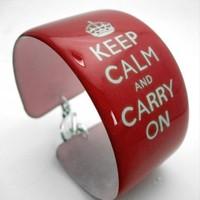 Resin art cuff bangle bracelet - KEEP CALM AND CARRY ON in shiny red | designsbytami - Jewelry on ArtFire