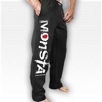 Monsta Sweatpants (Signature)-213: Black/WT : Monsta Clothing Co, Bodybuilding Clothing, Powerlifting Apparel, Weightlifting Shirts, Workout Clothes and MORE