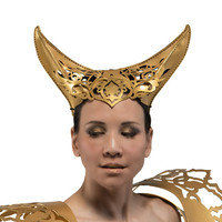 Filigree style leather horns in gold