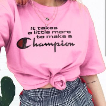 Champion 2018 pure cotton lovers round collar T-shirt B-AG-CLWM Pink