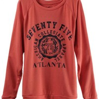 Peach Red Letter Printing Sweatshirt$34.00