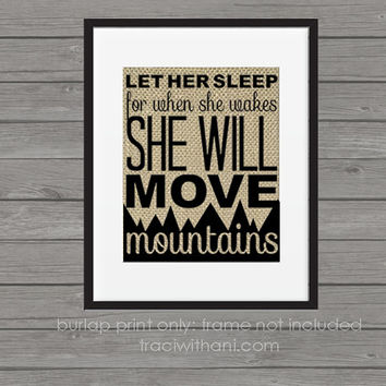 Let Her Sleep - Burlap Printed Wall Art : Nursery, Wall Art, Quote, Rustic, Typography, Baby, Girl, Country, Shabby Chic, Kids, Bedroom
