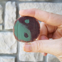 Yin Yang Brooch / Natural Wood Jewelry / Eco Friendly Zen Pin