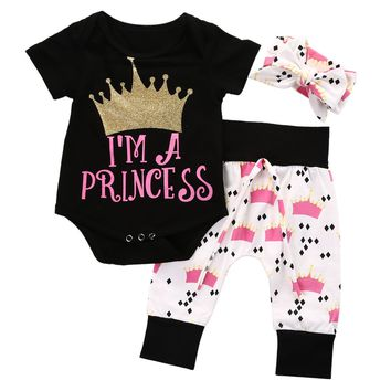 Little Princess Baby Girl Crown Romper+Long Pant Headband 3PC Outfit Set 0-18M