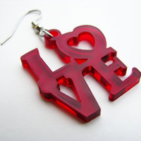 Love Earrings He Loves Me Square Ruby Red Modern Laser Cut Transparent Medium Passion Art Skateboard Idianapolis