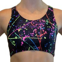 GemGear Paint Splatter Raser Sports Bra, PS1 (Paint Splatter) Extra Large
