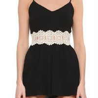 Black Lace Waist Strappy Romper