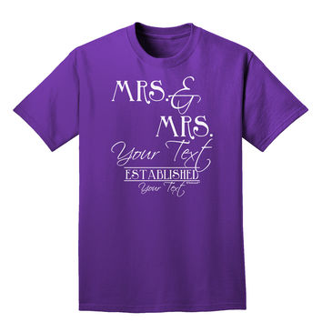 Personalized Mrs and Mrs Lesbian Wedding - Name- Established -Date- Design Adult Dark T-Shirt