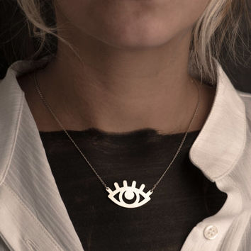 Gold Eye Necklace Evil Eye Pendant Jewelry Free Shipping Beep Studio Unisex Sterling Silver Art Statement Necklace Silver Gold Eye Spiritual
