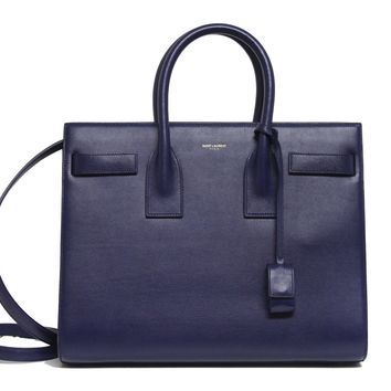 New $2990 Saint Laurent YSL Blue Sac De Jour Small Carryall Leather Bag