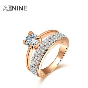 Classic AAA Cubic Zirconia Finger Rings Pave Austrian Crystal Rose Gold Color Wedding Rings Jewelry