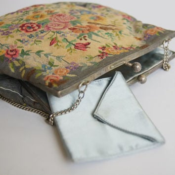Antique Art Nouveau 20's 30's tapestry petit point Purse Clutch Handmade Embroidered Metal frame Gray Handbag Free shipping