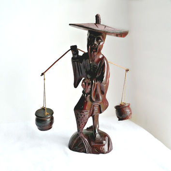 Asian Wood Sculpture - Vintage Carved Wood Asian Fisherman - Water Buckets - Wood Figure - Vintage Wood Carving - Dark Wood Figure
