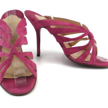 Christian Louboutin Women's Pink Leather Suede Strappy Sandal Pumps EU Size 38.5
