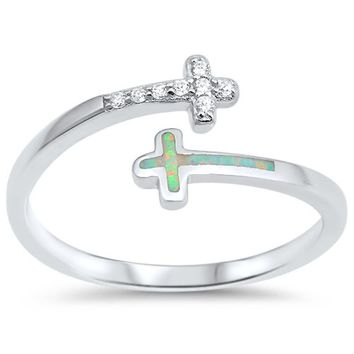 Choose Color Womens Cross Ring Rhodium Plated Sterling Silver Cross Bypass Ring Pave CZ Simulated White Blue Opal