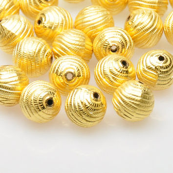 5 Pieces Matte Gold Ball Spacer Beads, Gold Plated Jewelry Spacers, Jewelry Findings, Jewelry Making Supply