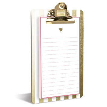Gold Hearts Clipboard Notepad in Metallic Gold Stripe