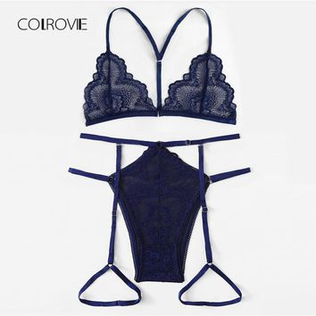 COLROVIE Navy Lace & Mesh Garter Lingerie Set 2018 New Summer Sexy Bra Set Lace Intimates Transparent Bra And Panty Set