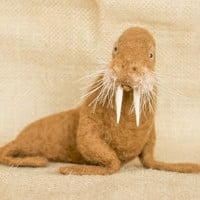 Kennedy the Walrus: Needle felted animal sculpture