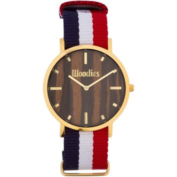 Ebony Wood Gold NATO Watch