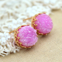 Pink Druzy studs earrings - 14k Gold filled Crown Lace setting gemstone jewelry.