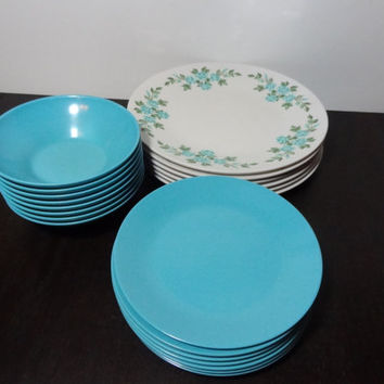 "Vintage Harmony House ""Wreath"" Melmac Dinnerware - Turquoise Blue Floral Wreath Pattern - Set of 21"