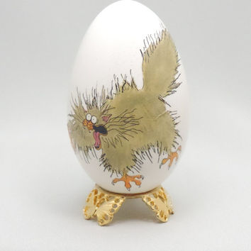 Whimsical Scaredy Cat Egg Ornament, Faberge Style Decorated Goose Egg