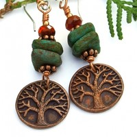 Copper Tree of Life Yggdrasil Earrings, Handmade Rustic Green Orange Artisan Jewelry Gift