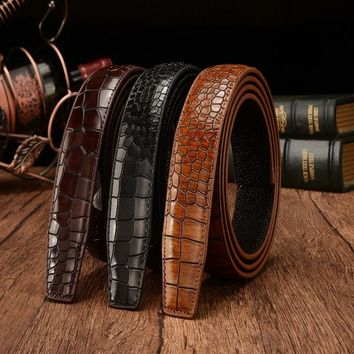 Fashion Crocodile Pattern Men's Leather Belt without Buckle Coffee Luxury Brand Belts for Men High Quality Genuine Leather Belt