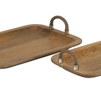 Tabari Wood Trays with Jute Handle - Set of 2