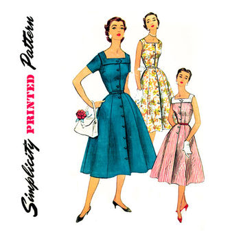 1950s Dress Pattern Bust 34 UNCUT Simplicity 1176 Fit and Flare Square Neck Front Buttoned Day Evening Dress Womens Vintage Sewing Pattern