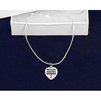 Multiple Sclerosis Awareness Ribbon Necklace