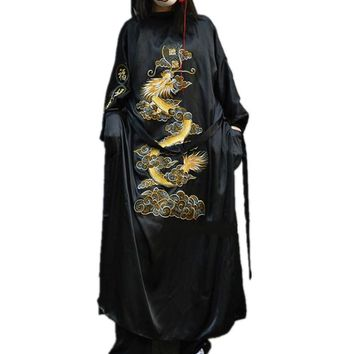New Harajuku Embroidered Dragon Loose Long Cardigan Coat Kimono Robe Women Cardigan coat