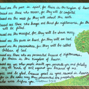 Blessed Are The/Beatitudes Matthew 5:3-12 Quote with Tree - Wall Art