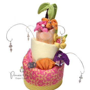 Moroccan/Indian Inspired, Topsy Turvy Diaper Cake, Baby Shower, Centerpiece, Baby Gift, Nursery Decor, Elephant, baby Girl, baby boy