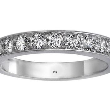 IGI CERTIFIED 14k Gold Pave Set Diamond 1/2 Carat Wedding Band Ring