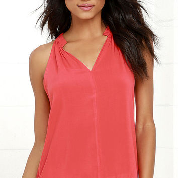 Cheer to Stay Coral Pink Sleeveless Top