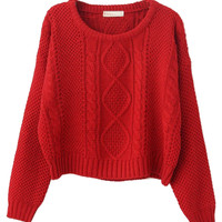 Red Cable Knit Short Jumper in Coral - Choies.com