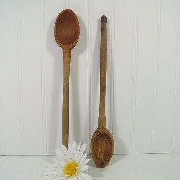 Vintage Large Wooden Oval Spoons Set of 2 - Primitive Scoop Bowls Long Handled Spoons Set - Rustic Aged HandCrafted KitchenWare Collectibles