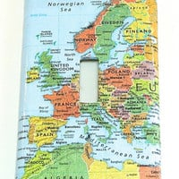 Europe Light Switch Cover- Map of Europe Single Light Switch Plate