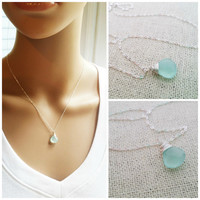 Aqua Chalcedony Wire Wrapped Briolette - Sterling Silver Necklace - Teardrop Necklace - Silver Necklace - Gift for Her